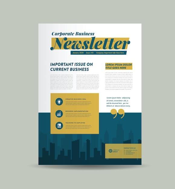 Design da capa do boletim de negócios ou design do jornal ou design do relatório mensal ou anual Vetor Premium