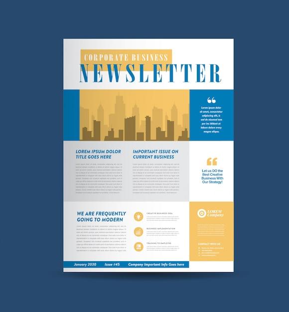 Design da capa do boletim informativo de negócios   journal design   projeto de relatório mensal ou anual Vetor Premium