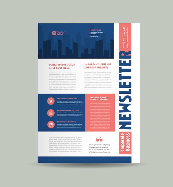 Design da capa do boletim informativo de negócios | journal design | projeto de relatório mensal ou anual Vetor Premium