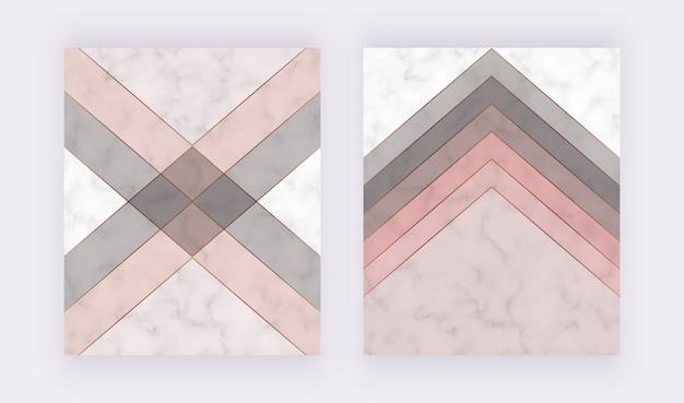 Design da capa geométrica moderna com formas de triângulos rosa, cinza e linhas de ouro sobre a textura de mármore. Vetor Premium