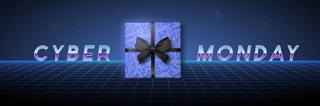 Design da cyber monday em estilo futurista. Vetor Premium