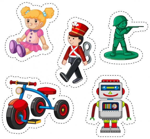 Design da etiqueta para brinquedos diferentes Vetor grátis