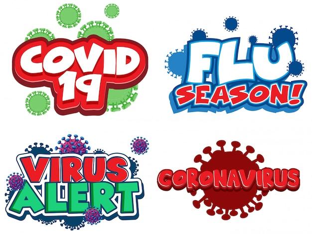 Design da fonte da palavra relacionada ao coronavírus Vetor grátis