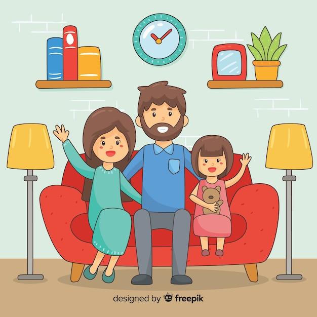 Design da jovem família em casa Vetor grátis