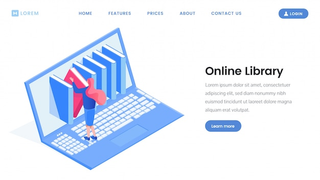 Design da página de destino da biblioteca on-line Vetor Premium