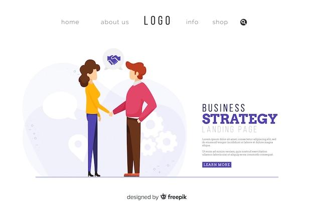 Design da página de destino da estratégia de negócios Vetor grátis