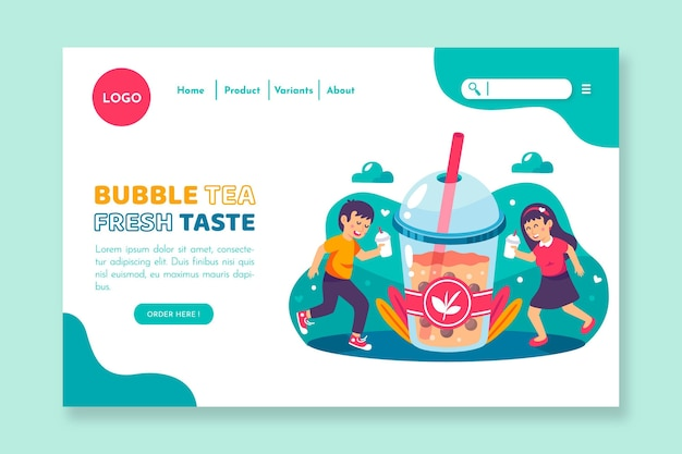 Design da página de destino do bubble tea Vetor Premium