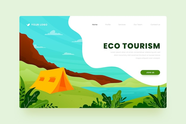 Design da página de destino do ecoturismo Vetor grátis