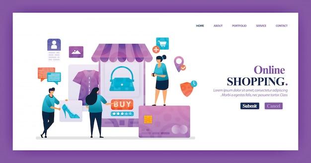 Design da página de destino do shopping online Vetor Premium
