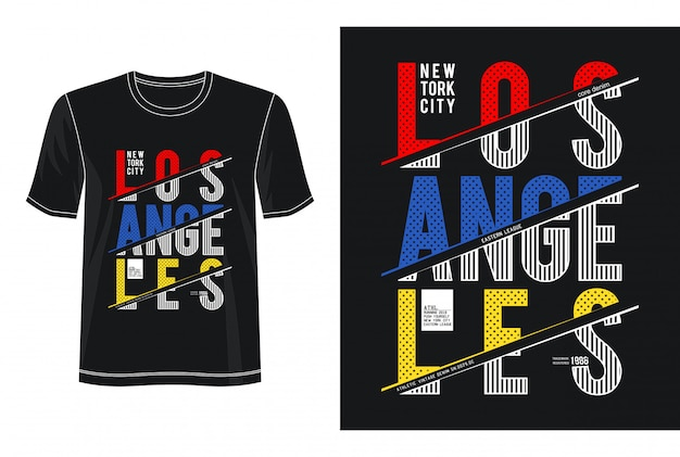 Design da tipografia de los angeles camiseta Vetor Premium