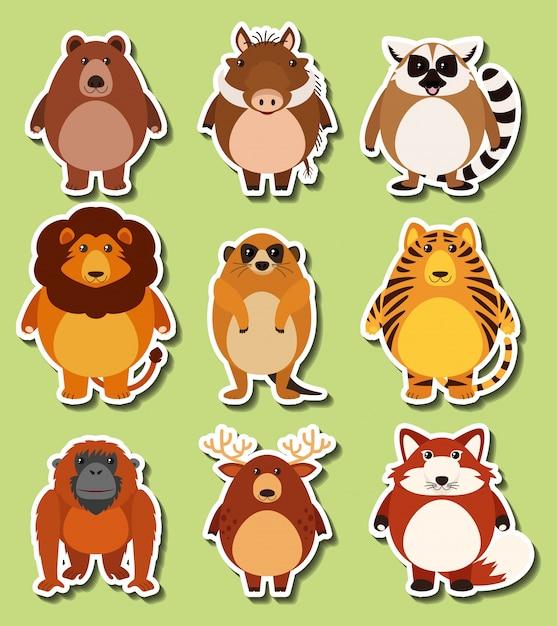 Design de adesivos com animais selvagens Vetor grátis