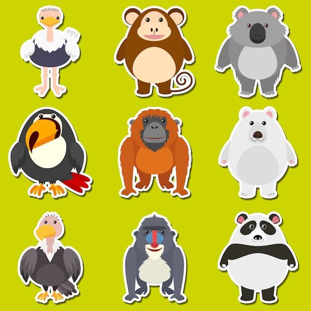 Design de adesivos para animais bonitos Vetor grátis
