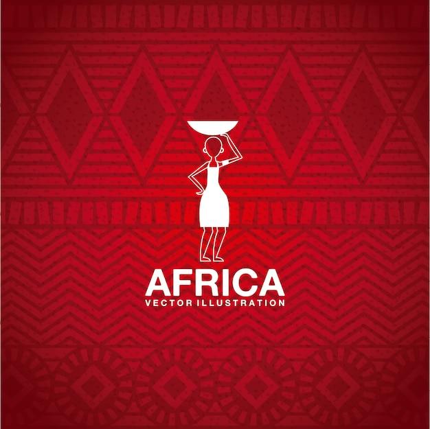 Design de áfrica sobre ilustração vetorial de fundo vermelho Vetor Premium
