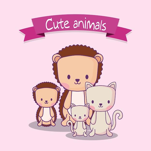 Design de animais fofos com porco-espinho e gatos Vetor Premium