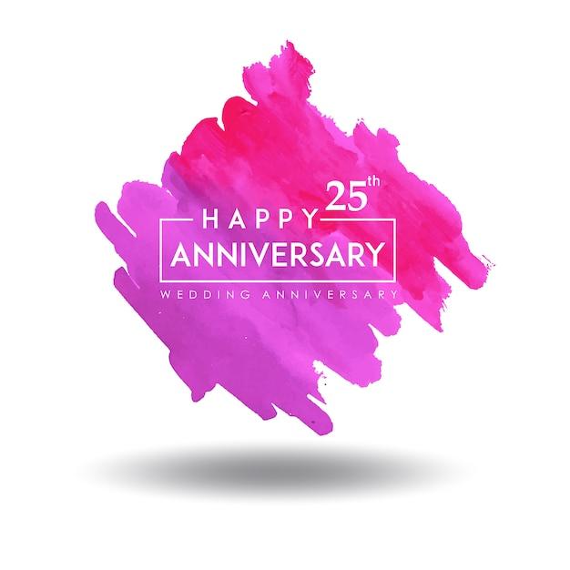 Design de aniversário de casamento colorido splatter aquarela Vetor grátis