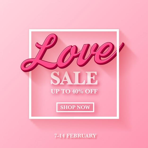 Design de anúncio de venda de dia dos namorados com tipografia 3d Vetor Premium