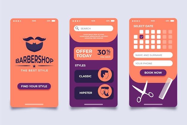Design de aplicativo de reserva de barbearia Vetor grátis