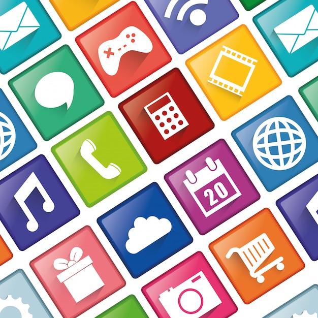 Design de aplicativos de smartphones. Vetor Premium