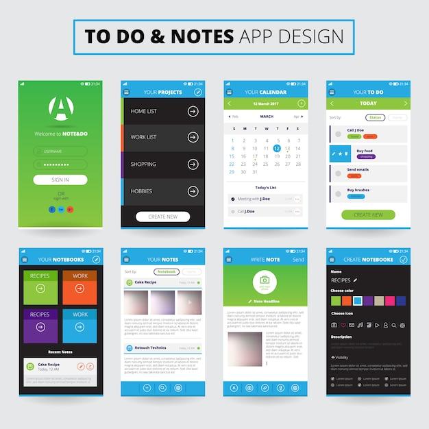 Design de aplicativos móveis do notes Vetor grátis