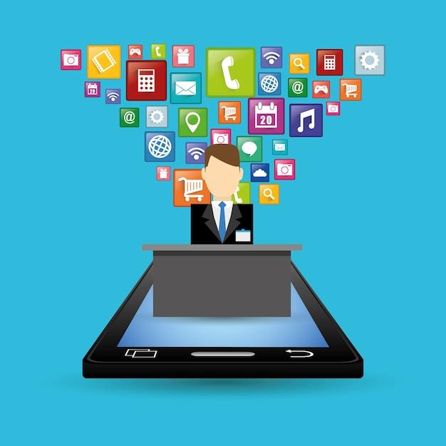 Design de apps digitais de recepcionista e hotel de smartphone Vetor Premium