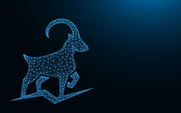Design de baixo poli cabra da montanha poderosa, imagem geométrica abstrata animal, ilustração em vetor poligonal ibex wireframe malha feita de pontos e linhas Vetor Premium