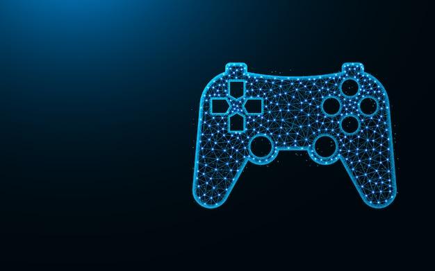 Design de baixo poli joystick, imagem geométrica abstrata do console de jogos, ilustração em vetor poligonal dispositivo wireframe malha poligonal feita de pontos e linhas Vetor Premium