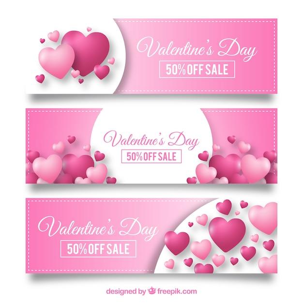 Design de bandeira de venda de valentine rosa Vetor grátis
