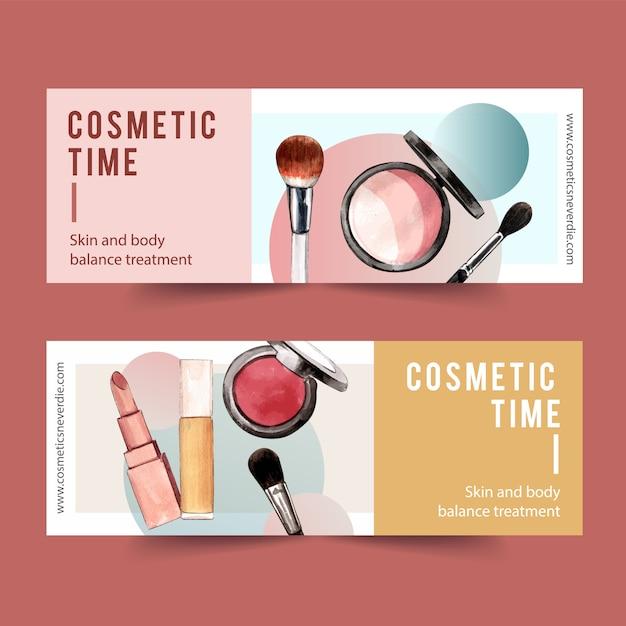 Design de banner cosmético com marca-texto, pincel, batom Vetor grátis