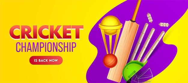 Design de banner de campeonato de críquete com copa do troféu de ouro e equipamentos realistas em fundo amarelo e roxo. Vetor Premium