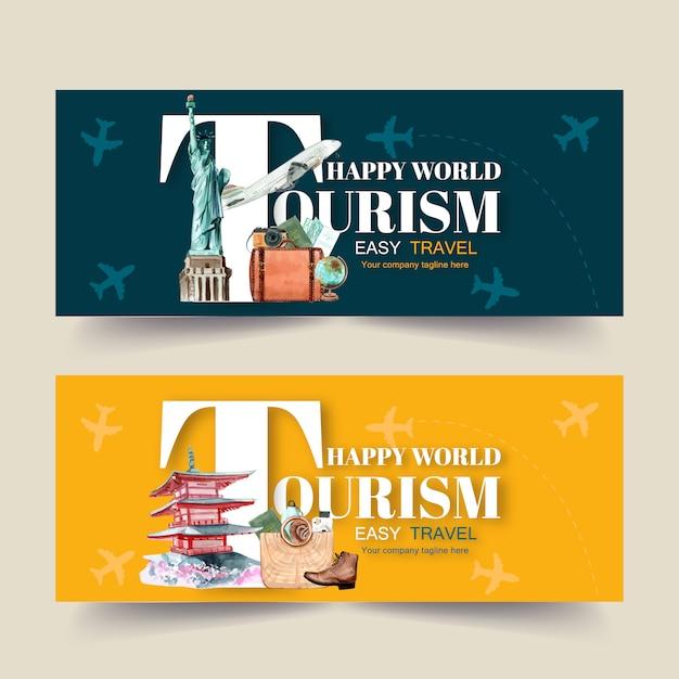 Design de banner de dia de turismo com escultura, mapa, palácio, passaporte Vetor grátis