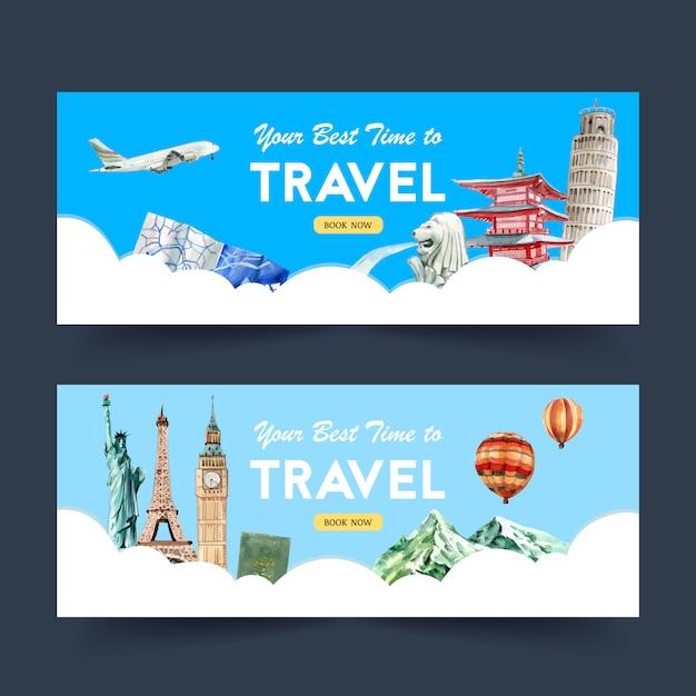Design de banner de dia de turismo com marco, torre, castelo, estátua Vetor grátis