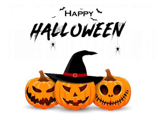 Design de banner de halloween com personagem sorridente de abóbora Vetor Premium