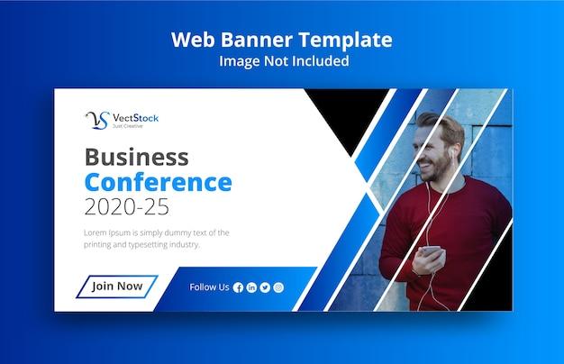 Design de banner de mídia social para conferência de negócios Vetor Premium