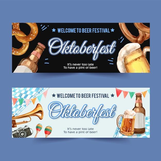 Design de banner de oktoberfest com pretzel, cerveja, instrumentos musicais Vetor grátis