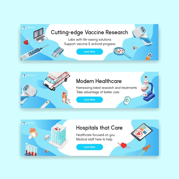 Design de banner de saúde com hospital, médico e farmácia Vetor grátis