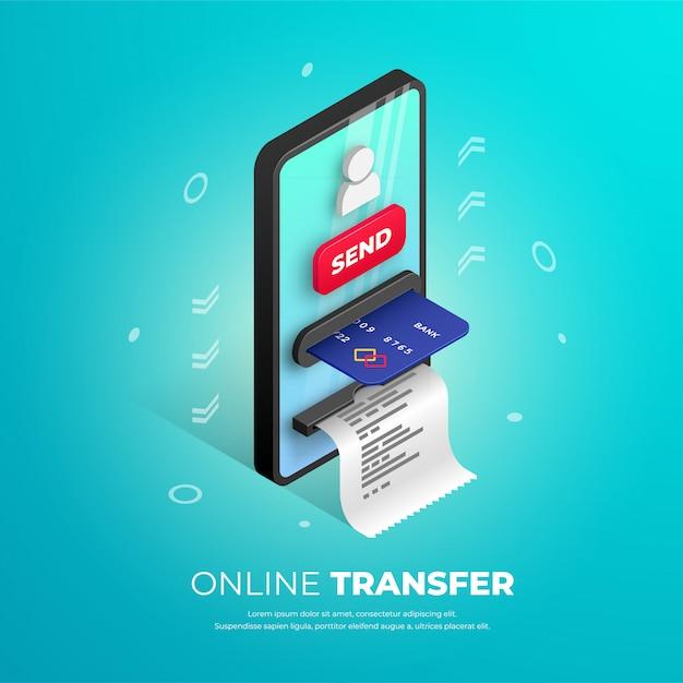 Design de banner de transferência on-line. modelo isométrico de banco móvel com smartphone atm, cartão de crédito, botão e ícone de usuário. conceito 3d de pagamento on-line, enviando ilustração de dinheiro para web, aplicativos, anúncio Vetor Premium