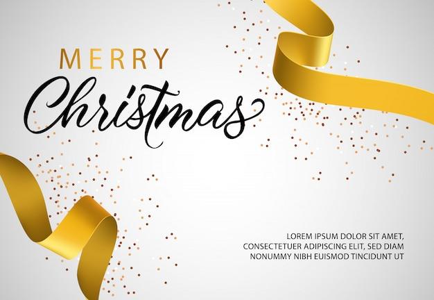 Design de banner feliz natal com fita dourada Vetor grátis