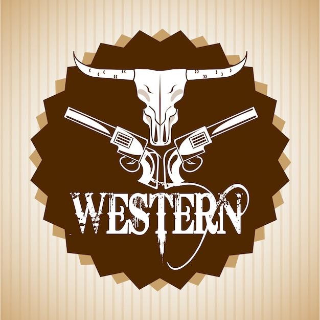Design de banner ocidental Vetor Premium