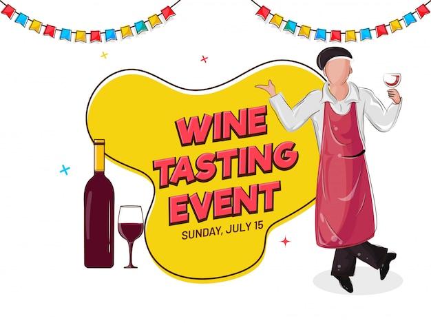 Design de banner ou cartaz de degustação de vinhos com ilustração de bar garçom Vetor Premium