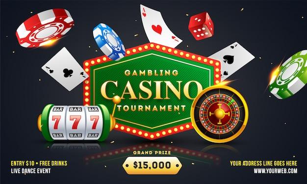 Design de banner ou cartaz de torneio de casino de jogo Vetor Premium