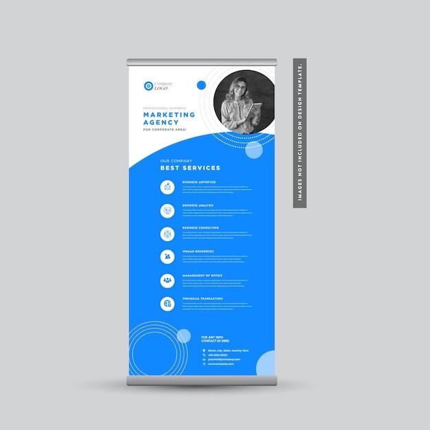 Design de banner rollup de negócios corporativos Vetor Premium