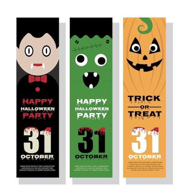 Design de banner vertical de halloween Vetor Premium