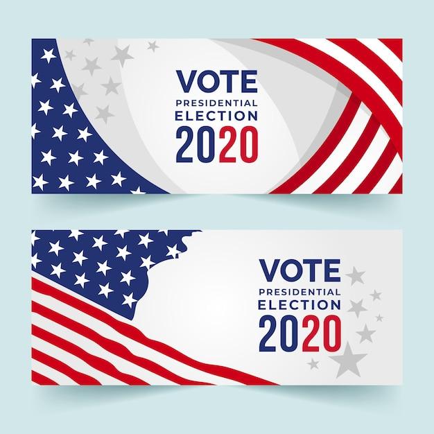 Design de banners da eleição presidencial dos eua em 2020 Vetor Premium