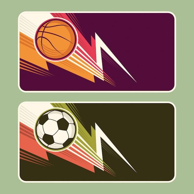 Design de banners de esporte Vetor Premium