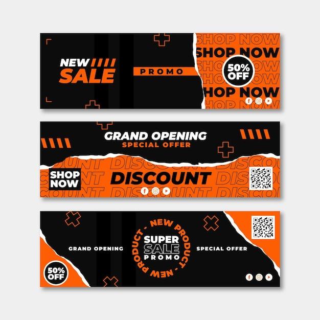 Design de banners de inauguração Vetor Premium