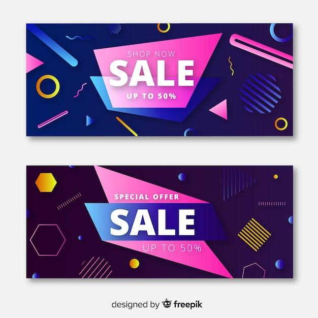 Design de banners de venda especial de memphis Vetor grátis