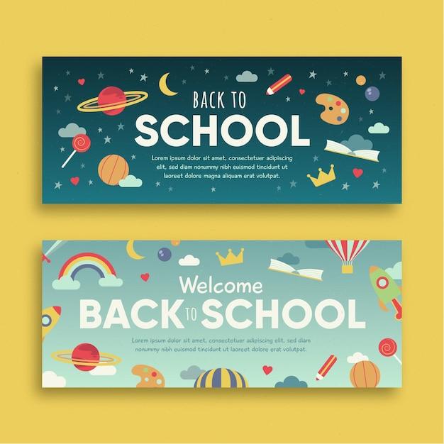 Design de banners de volta às aulas Vetor grátis
