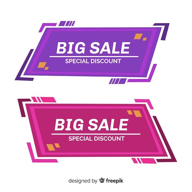 Design de banners geométricos para ofertas e descontos Vetor grátis