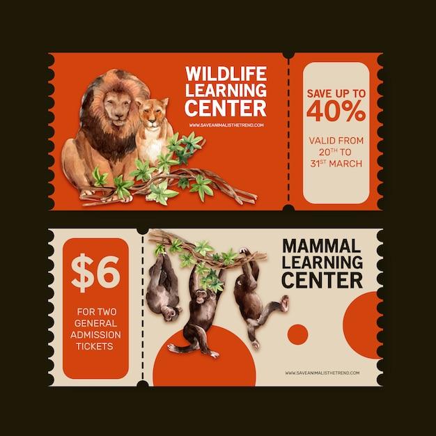 Design de bilhetes de zoológico com leão, ilustração em aquarela de macaco. Vetor grátis