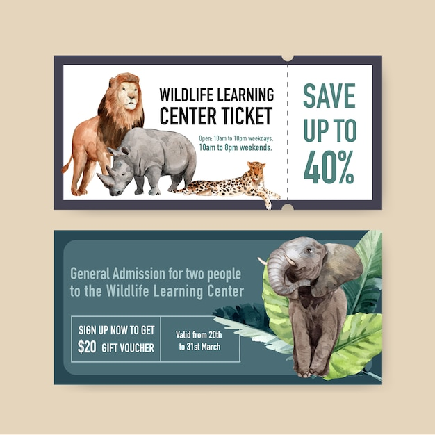 Design de bilhetes de zoológico com leão, rinoceronte, ilustração em aquarela de elefante. Vetor grátis